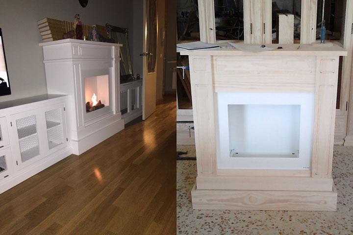 Muebles chimenea chimenea de madera de abedul blanca - Muebles de chimenea ...